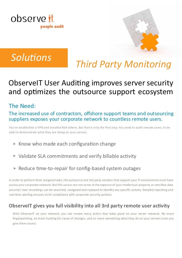 people audit      Solutions                                                  Third Party Monitoring ObserveIT User Auditin...