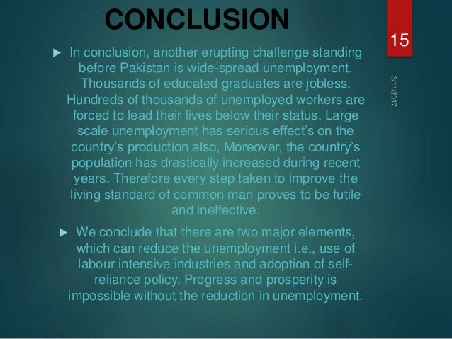 conclusion about unemployment The analysis revealed that a drop durable goods employment was the primary reason for the unemployment rate remaining at high levels for at.