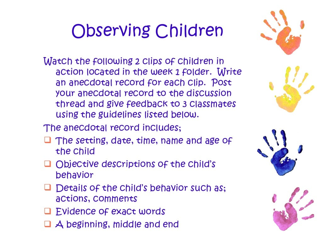 Child observation essay examples