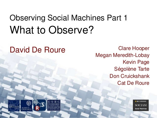 David De RoureObserving Social Machines Part 1What to Observe?Clare HooperMegan Meredith-LobayKevin PageSégolène TarteDon ...