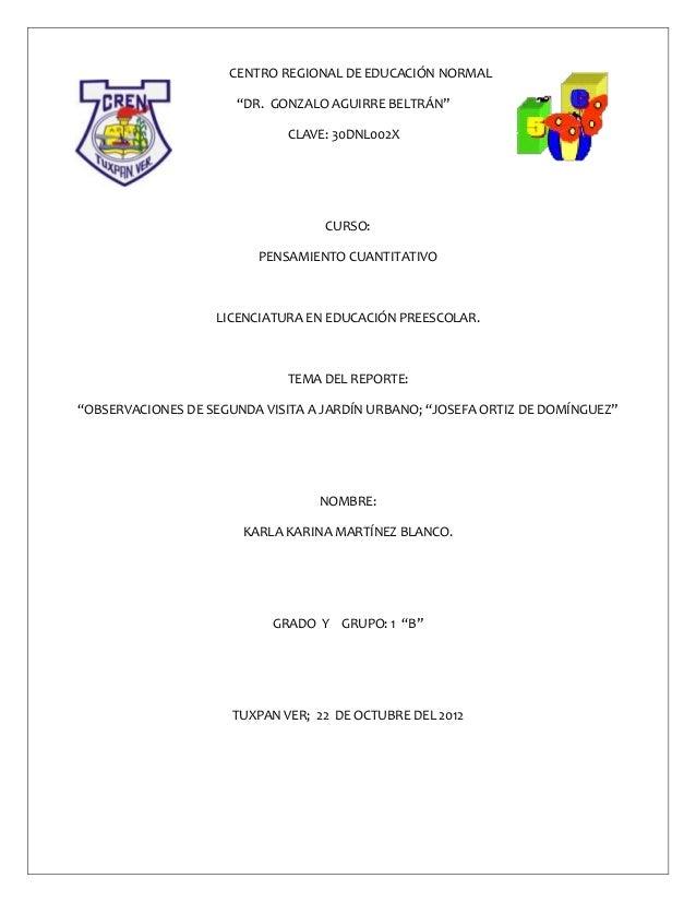 """CENTRO REGIONAL DE EDUCACIÓN NORMAL                      """"DR. GONZALO AGUIRRE BELTRÁN""""                              CLAVE:..."""