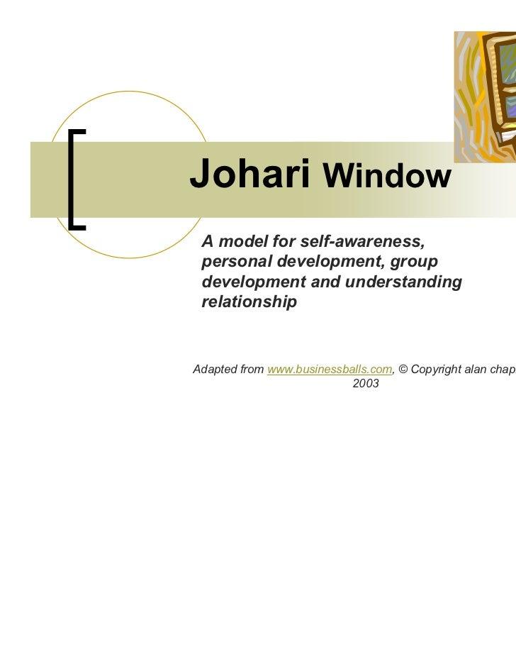Johari Window A model for self-awareness, personal development, group development and understanding relationshipAdapted fr...