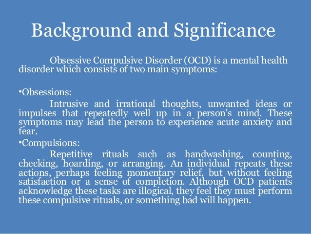 obsessive compulsive eating disorder essay Specific purpose: to inform my audience of the definition of obsessive compulsive disorder and what causes it, the symptoms of obsessive-compulsive disorder, and the treatments for obsessive -compulsive disorder.