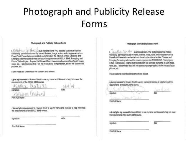 Obsolete and emerging technologies presentation – Publicity Release Form