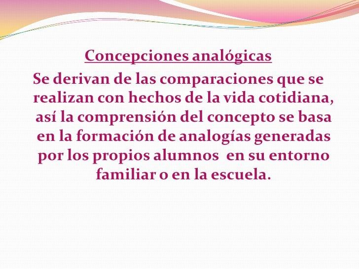 Concepciones analógicasSe derivan de las comparaciones que serealizan con hechos de la vida cotidiana,así la comprensión d...