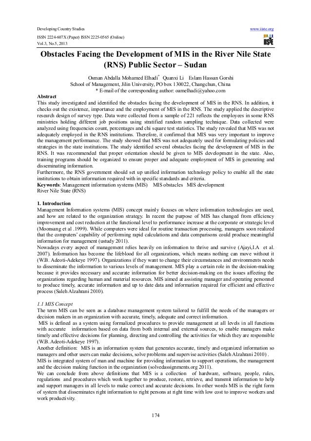 Developing Country Studies www.iiste.orgISSN 2224-607X (Paper) ISSN 2225-0565 (Online)Vol.3, No.5, 2013174Obstacles Facing...