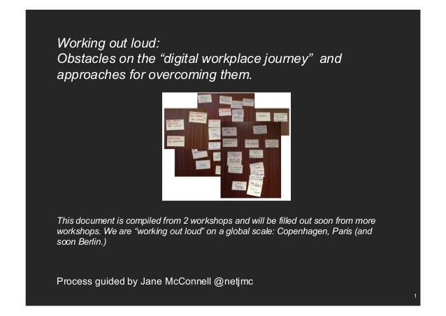 "1 Working out loud: Obstacles on the ""digital workplace journey"" and approaches for overcoming them. This document is comp..."