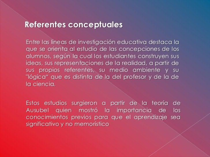 Referentes conceptualesEntre las líneas de investigación educativa destaca laque se orienta al estudio de las concepciones...