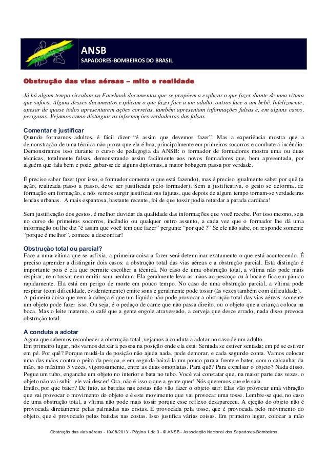 Obstrução das vias aéreas - 10/08/2013 - Página 1 de 3 - © ANSB  - Associação Nacional dos Sapadores-Bombeiros  ANSB  SAPA...
