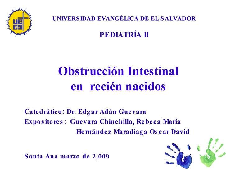 UNIVERSIDAD EVANGÉLICA DE EL SALVADOR PEDIATRÍA II Obstrucción Intestinal en  recién nacidos Catedrático: Dr. Edgar Adán G...