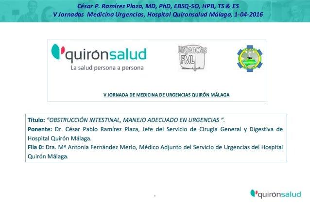 1 César P. Ramírez Plaza, MD, PhD, EBSQ-SO, HPB, TS & ES V Jornadas Medicina Urgencias, Hospital Quironsalud Málaga, 1-04-...