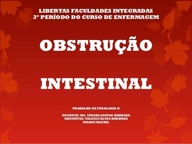 OBSTRUÇÃO INTESTINAL TRABALHO DE FISIOLOGIA II DOCENTE: MS. IÁCARA SANTOS BARBOSA DISCENTES: VALDECI ALVES BARBOZA SUSANE ...