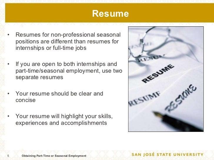seasonal job on resumes