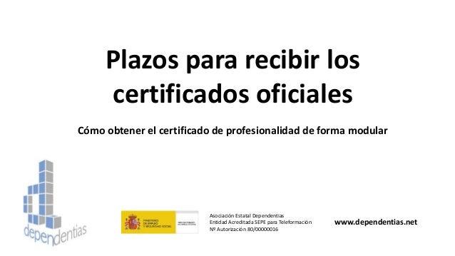 Plazos para recibir los certificados oficiales Cómo obtener el certificado de profesionalidad de forma modular Asociación ...