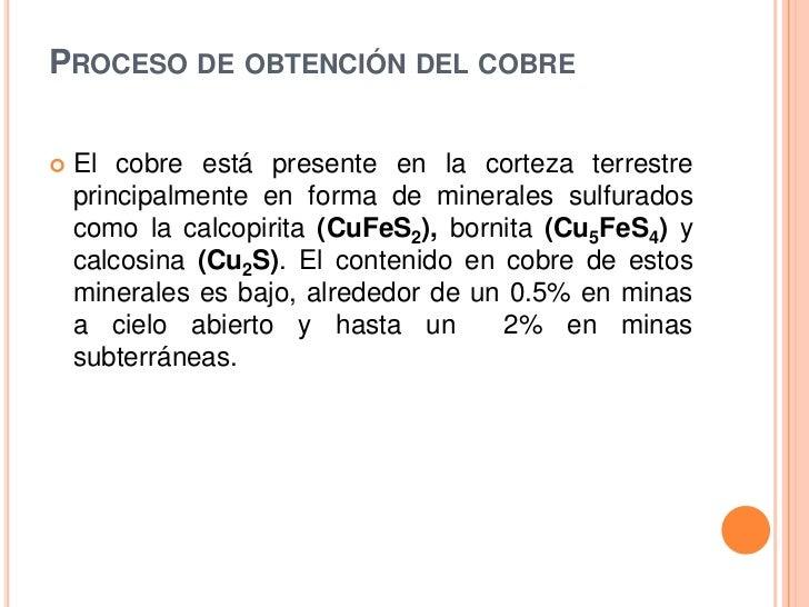 Obtencion del cobre for Descripcion del proceso de produccion