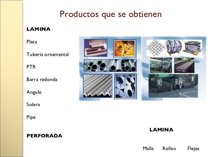 Obtencion del hierro y del acero for Productos de hierro