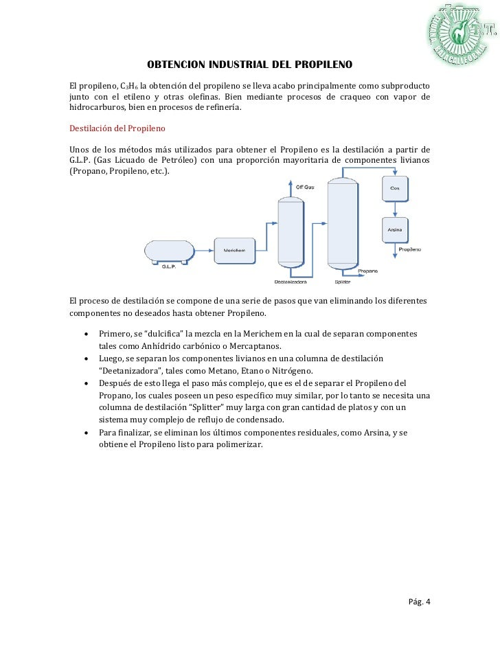 Obtencion industrial del etileno, propileno y butano