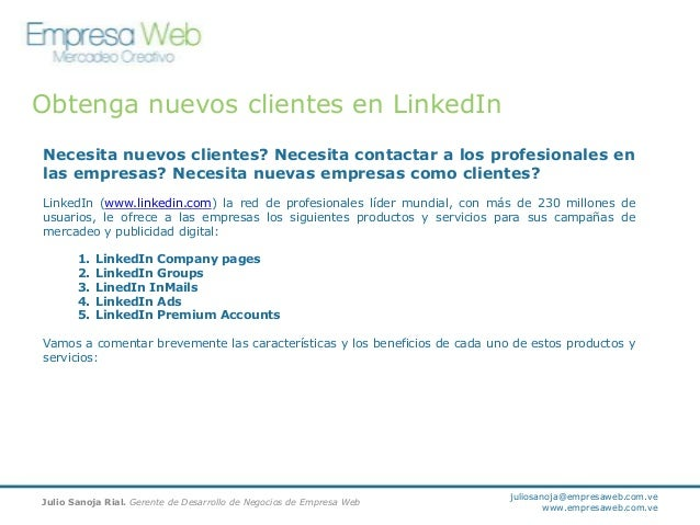 Obtenga nuevos clientes en LinkedIn Necesita nuevos clientes? Necesita contactar a los profesionales en las empresas? Nece...
