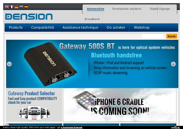 Search Automotive Smartphone solutions Digital Signage Broadband Produits Compatibilité Assistance technique Où acheter We...