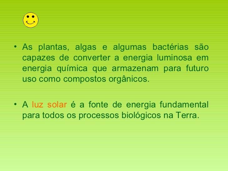 <ul><li>As plantas, algas e algumas bactérias são capazes de converter a energia luminosa em energia química que armazenam...