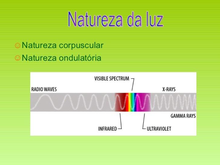 <ul><li>Natureza corpuscular </li></ul><ul><li>Natureza ondulatória </li></ul>Natureza da luz