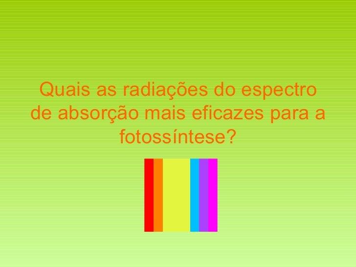 Quais as radiações do espectro de absorção mais eficazes para a fotossíntese?
