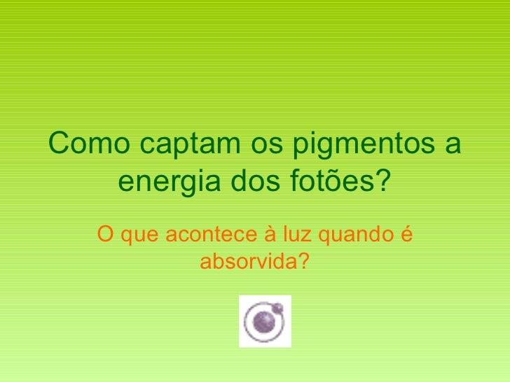 Como captam os pigmentos a energia dos fotões? O que acontece à luz quando é absorvida?