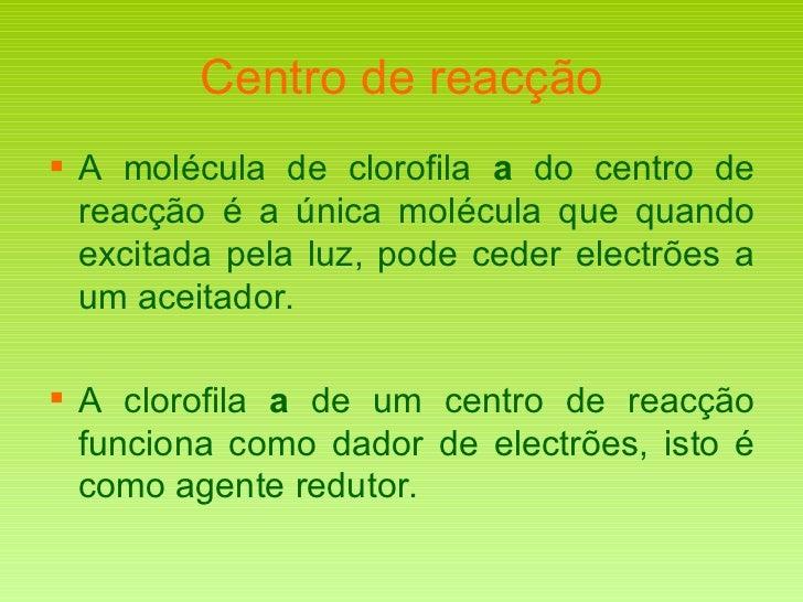 Centro de reacção <ul><li>A molécula de clorofila  a  do centro de reacção é a única molécula que quando excitada pela luz...