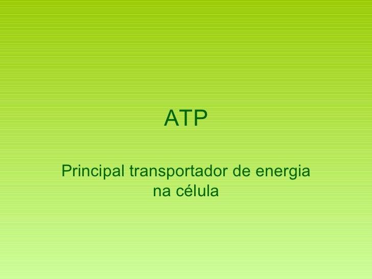 ATP Principal transportador de energia na célula