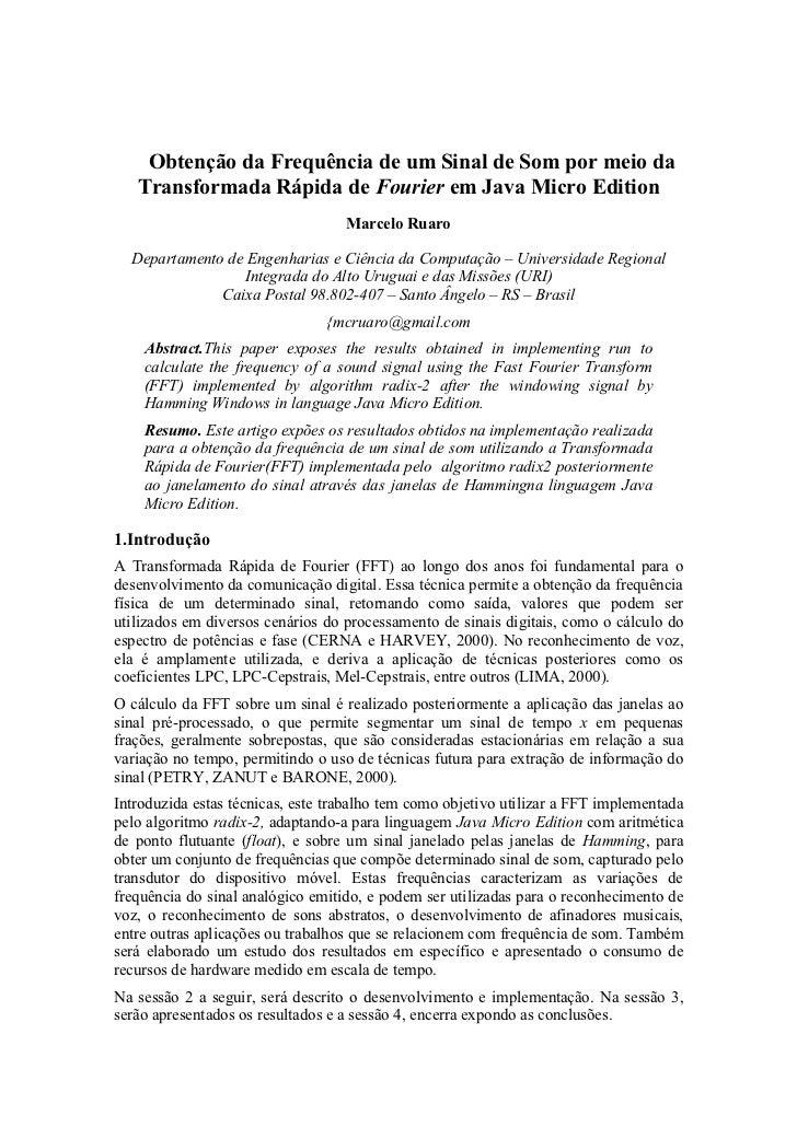 Obtenção da Frequência de um Sinal de Som por meio da   Transformada Rápida de Fourier em Java Micro Edition              ...