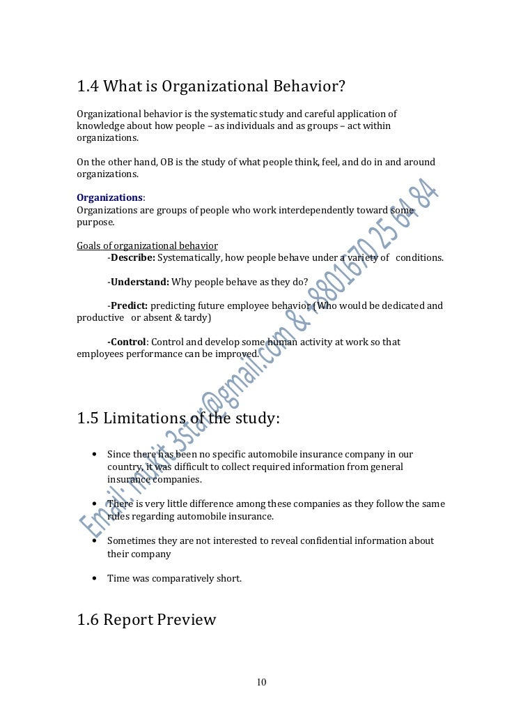 Sample research paper on organizational behavior