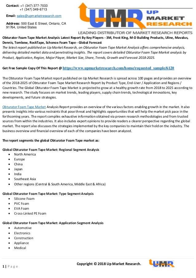 Obturator foam tape market analysis latest report by key