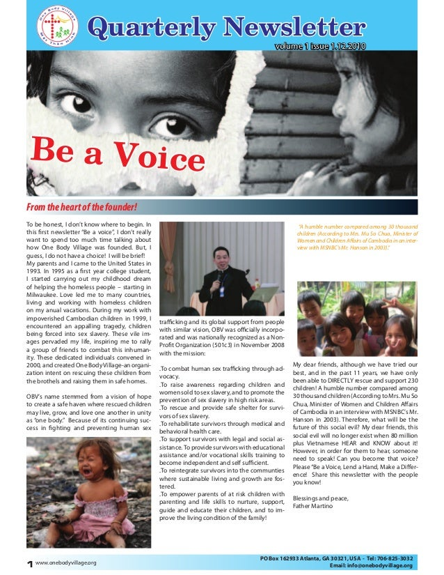 """Quarterly Newsletter Be a Voice """"A humble number compared among 30 thousand children (According to Mrs. Mu So Chua, Minist..."""