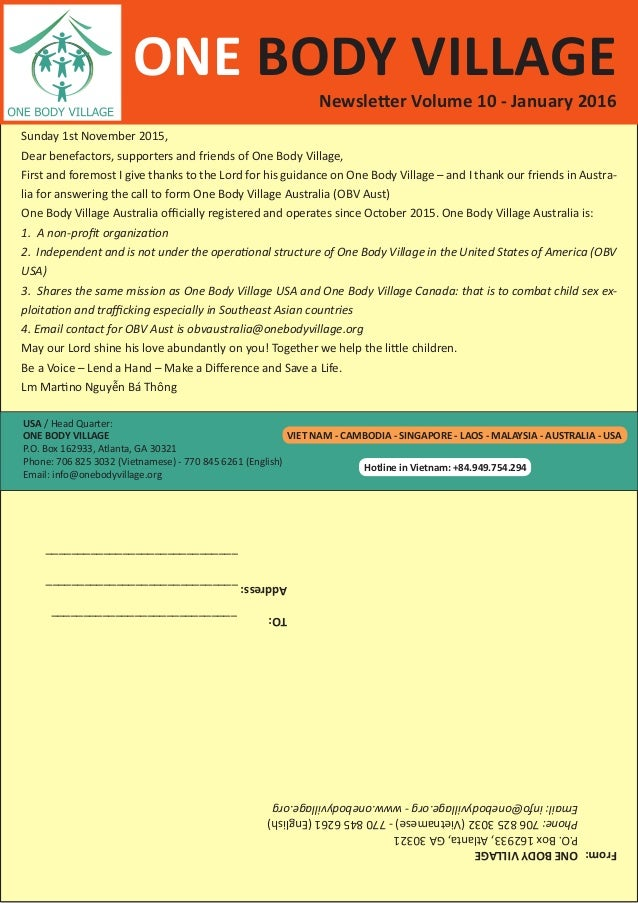 USA / Head Quarter: ONE BODY VILLAGE P.O. Box 162933, Atlanta, GA 30321 Phone: 706 825 3032 (Vietnamese) - 770 845 6261 (E...