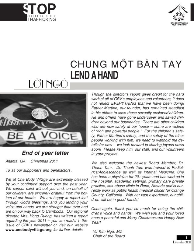 CHUNG MOÄT BAØN TAY LENDAHAND End of year letter Altanta, GA Christmas 2011 To all our supporters and benefactors, We at O...