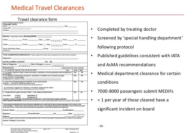 ... 31.   30   Medical Travel Clearances Travel Clearance Form ...