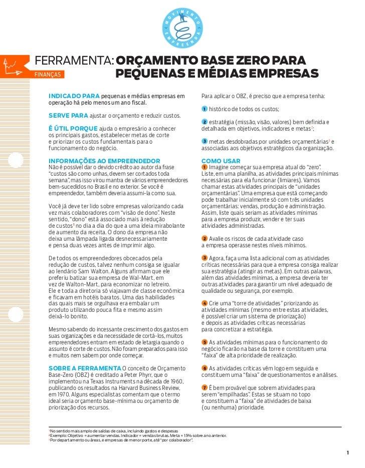 ferramenta: orçamento base zero paraFinanças    pequenas e médias empresas INDICADO PARA pequenas e médias empresas em    ...
