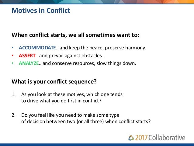 CONFLICT STAGE FOCUS ON BLUE Accommodate RED Assert GREEN Analyze 1 Self, Problem, & Others Wanting to accommodate others ...
