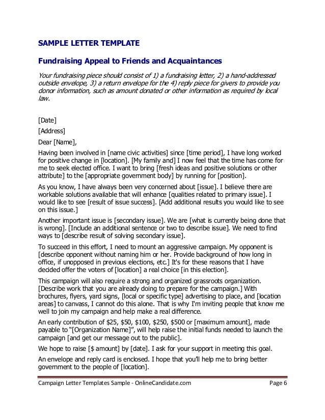 sample fundraising appeal letters
