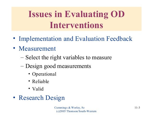 evaluating and institutionalizing od interventions Organization development and change chapter eleven : evaluating and  institutionalizing od interventions thomas g cummings christopher g worley.