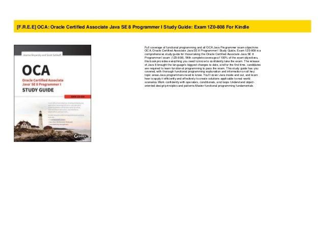 F R E E  Oca  Oracle Certified Associate Java Se 8