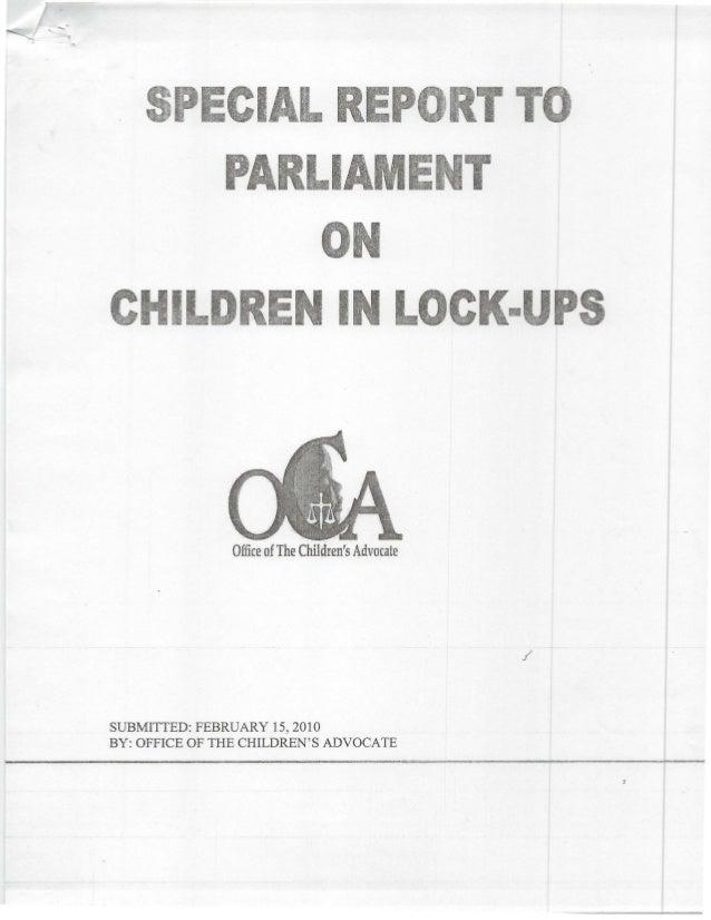 Cl REIAC .·IL IN u.Office ofThe Childrens AdvocateSUBMITTED: FEBRUARY 15, 2010BY: OFFICE OF THE CHILDRENS ADVOCATE
