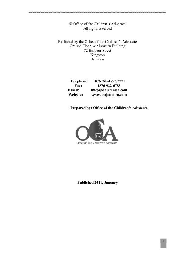 © Office of the Children's Advocate               All rights reservedPublished by the Office of the Children's Advocate   ...