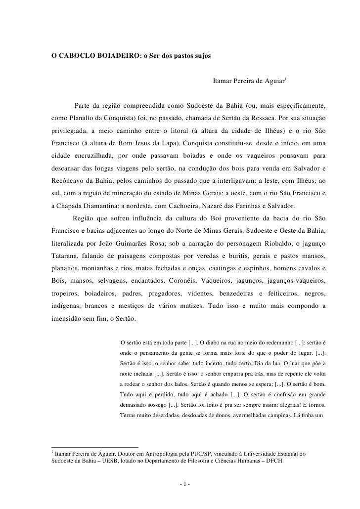 O Caboclo Boiadeiro: O Ser dos pastos sujos por Itamar Pereira de Aguiar