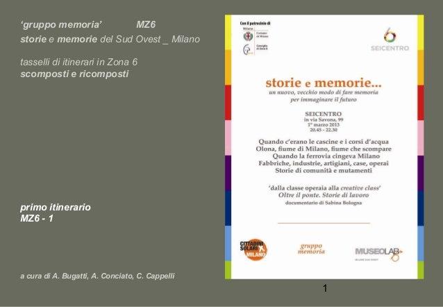 'gruppo memoria' MZ6 storie e memorie del Sud Ovest _ Milano tasselli di itinerari in Zona 6 scomposti e ricomposti  primo...