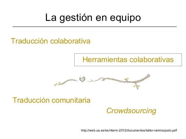 La gestión en equipoTraducción colaborativa                    Herramientas colaborativasTraducción comunitaria           ...