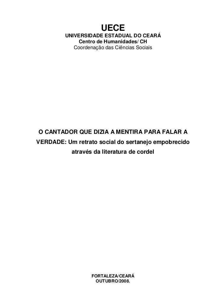 UECE         UNIVERSIDADE ESTADUAL DO CEARÁ              Centro de Humanidades/ CH            Coordenação das Ciências Soc...