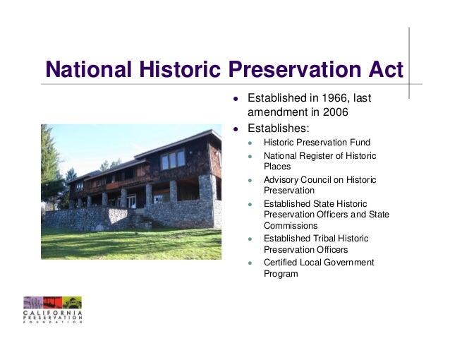 8 National Historic Preservation Act Established In 1966