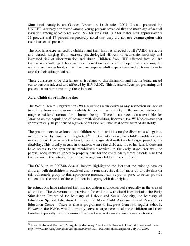 Jamaica Office Of The Children S Advocate 2008 2009 Annual Report