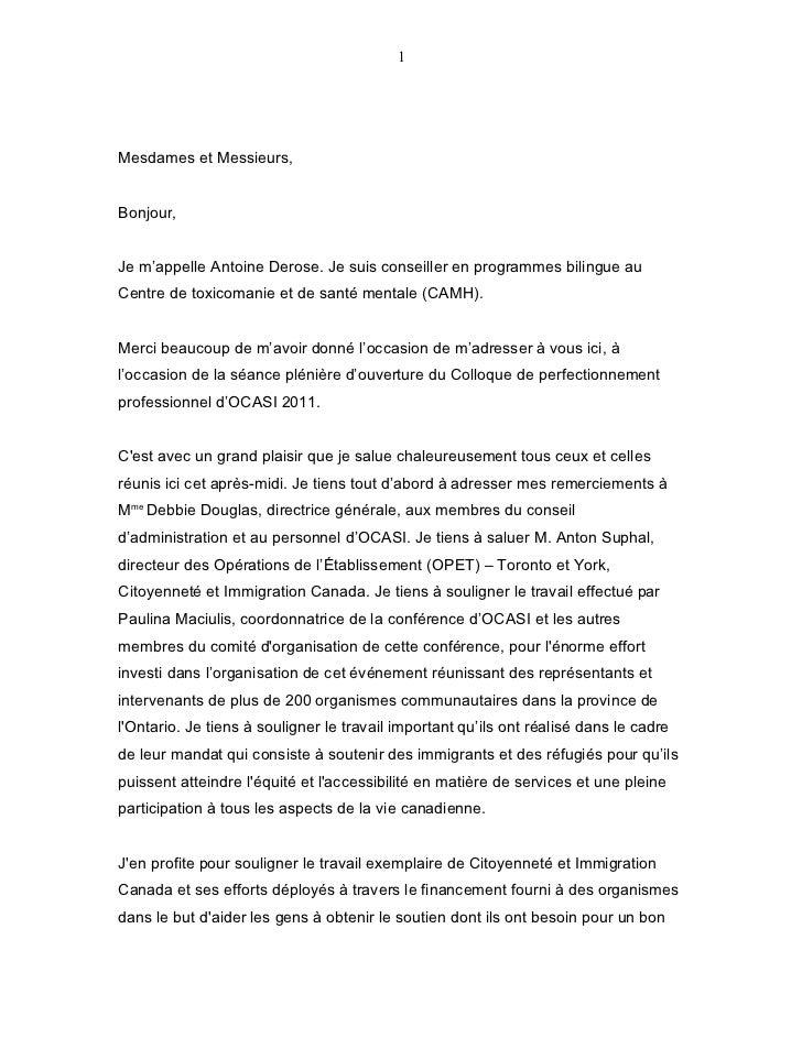 1Mesdames et Messieurs,Bonjour,Je m'appelle Antoine Derose. Je suis conseiller en programmes bilingue auCentre de toxicoma...